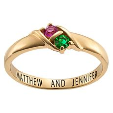 Round Birthstone Double Crystal Ring