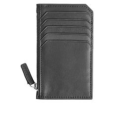 Royce Zippered Leather Credit Card Wallet