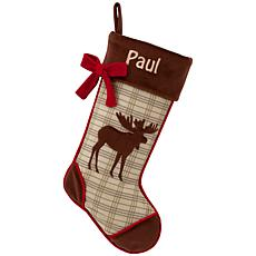 Rustic Woodland Moose Personalized Stocking