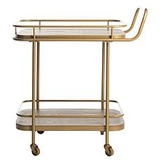 Safavieh Gaia 2-Tier Gold Rectangular Bar Cart