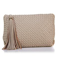 Sam Edelman Gayla Woven Leather Clutch with Crossbody Strap