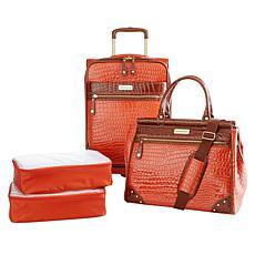 Samantha Brown Croco Embossed Luggage 4-piece Set