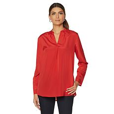 Samantha Brown Roll Tab Tunic Style Blouse