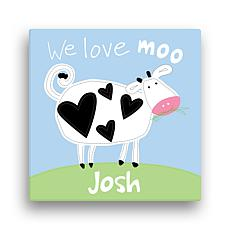 Sandra Magsamen Love Moo Blue Personalized Wall Art
