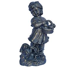 Santa's Workshop Bronze Finished Girl and Bunny Statue