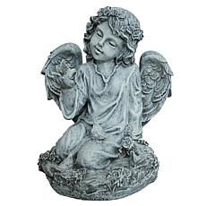 Santa's Workshop Grey Kneeling Angel with Dove Statue