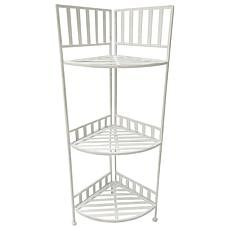 Santa's Workshop Iron 3-Tier Corner Shelf in Antique White