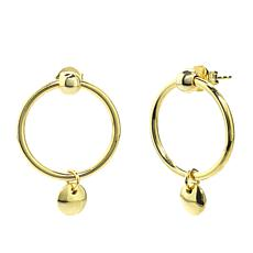 Séchic Disc D'Or 14K Yellow Gold Hoops with Charm Earrings