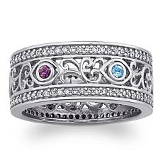 Secret Garden Sterling Filigree Family Birthstone Ring