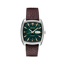 Seiko Men's Recraft Series Green Dial Leather Strap Automatic Watch
