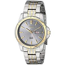 Seiko Men's Two-Tone Stainless Steel Gray Dial Solar Watch