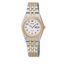 Seiko Women's 2-tone White Dial Solar-Powered Bracelet Watch