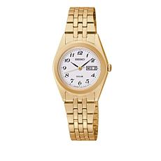 Seiko Women's Goldtone White Dial Solar-Powered Bracelet Watch