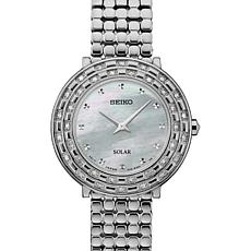 Seiko Women's Silvertone Diamond-Accented Solar-Powered Watch