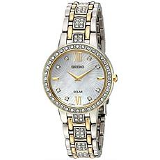 Seiko Women's Two-Tone Stainless Steel Crystal Mother-of-Pearl Watch