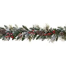 Set of 2 6' Snowy Holiday Garlands