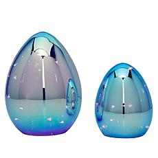 Set of 2 Iridescent Lit Eggs with Timers