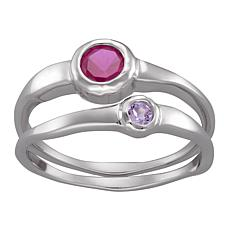 Set of 2 Stackable Birthstone Crystal Rings