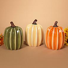 Set of 3 Ribbed Dolomite Harvest Pumpkins