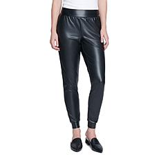 Seven 7 Faux Leather Ponte Jogger - Black
