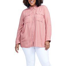 Seven7 Flap Pocket Roll Tab Shirt - Rose
