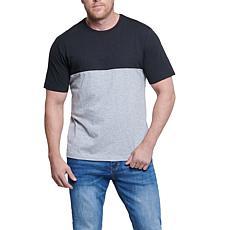Seven7 Men's Colorblock Short Sleeve Top - Black/Heather Gray