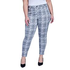 Seven7 Plus-size High-Rise Printed Skinny Jean - Grey Python