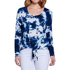 Seven7 Tie Dye Tie Front Long Sleeve Top - Indigo