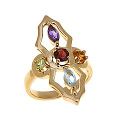 Sevilla Silver™ 1.11ctw Multigem Abstract Cross Ring