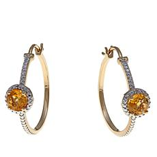 Sevilla Silver™  1.32ctw Citrine Diamond-Accented Hoops