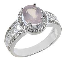 Sevilla Silver™ 1.44ctw Oval Rose Quartz and White Topaz Ring