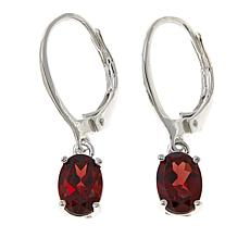 Sevilla Silver™ 1.6ctw Oval Garnet Drop Earrings