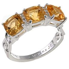 Sevilla Silver™ 1.81ctw Citrine and White Topaz 3-Stone Ring