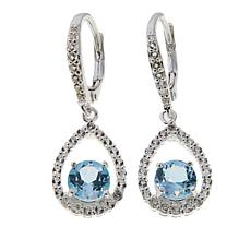 Sevilla Silver™ 2.19ctw Blue Topaz and White Topaz Frame Drop Earrings