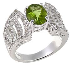 Sevilla Silver™ 2.29ctw Oval Peridot and White Topaz Ring