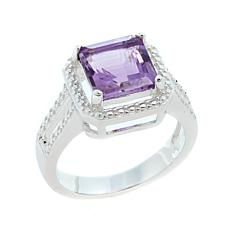 Sevilla Silver™ 2.30ctw Cushion-Cut Amethyst Diamond-Accented Ring