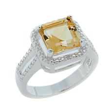 Sevilla Silver™ 2.35ctw Cushion-Cut Citrine Diamond-Accented Ring