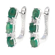 Sevilla Silver™ 2.96ctw Emerald and White Topaz 3-Stone Hoop Earrings