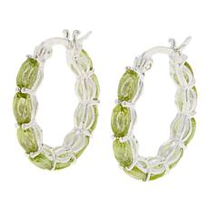 Sevilla Silver™ 3.78ctw Oval Peridot Hoop Earrings