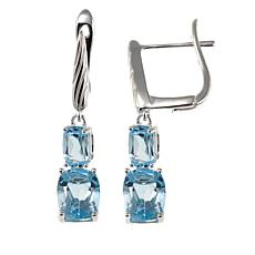 Sevilla Silver™ 3.88ctw Square Sky Blue Topaz Drop Earrings