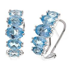 Sevilla Silver™ 4.08ctw Blue Topaz 5-Stone Omega-Back Earrings