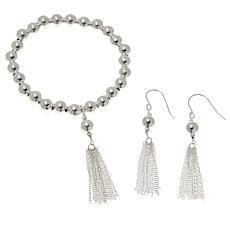 Sevilla Silver™ Beaded Tassel Bracelet and Earring Set