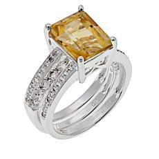 Sevilla Silver™ Citrine and White Topaz Ring Guard Set