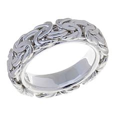 Sevilla Silver Comfort Fit Byzantine Link Band Ring