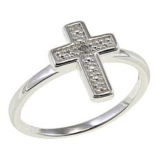 Sevilla Silver™ Diamond-Accented Cross Ring