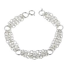 "Sevilla Silver™ Diamond-Cut and Polished Link 5-Row 18"" Necklace"