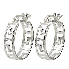 Sevilla Silver™ Diamond-Cut Greek Key Hoop Earrings