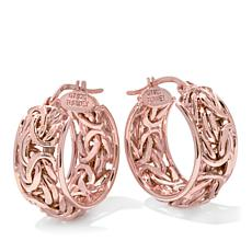 Sevilla Silver™ Gold-Plated 9mm Domed Byzantine-Style Hoop Earrings