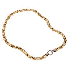 Sevilla Silver™ Gold-Plated Byzantine Necklace with Gemstone Clasp