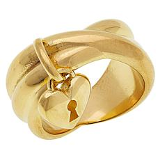 Sevilla Silver™ Gold-Plated Crisscross Band Ring with Heart Charm